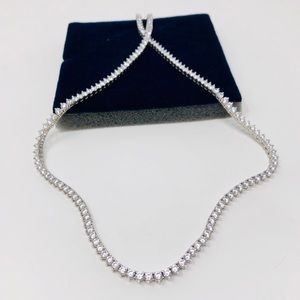 Jewelry - 🆕 looks real! sterling, CZ tennis necklace, 24.1g